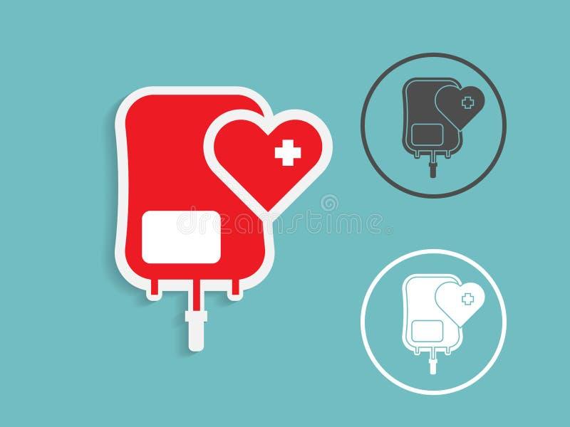 Illustrationen av blodpåsedonation med hjärtaform, läkarundersökning lurar vektor illustrationer