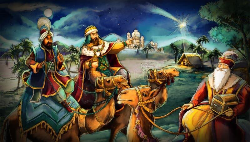 Illustrationen av den heliga familjen och tre konungar vektor illustrationer