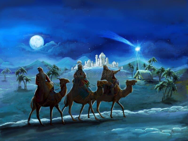 Illustrationen av den heliga familjen och tre konungar - traditionell plats - illustration för barnen stock illustrationer