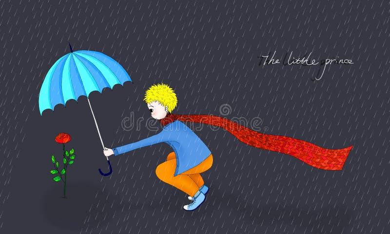 illustrationen av den lilla prinsen och hans steg stock illustrationer