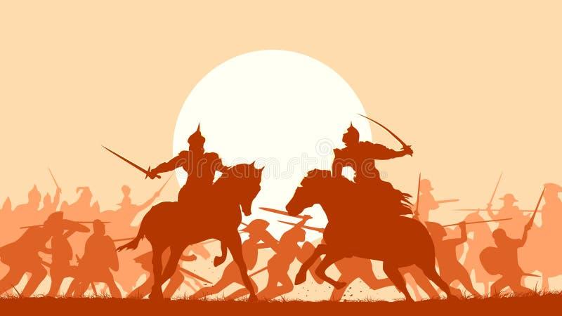 Illustrationen av den medeltida striden med kamp av två monterade warrio royaltyfri illustrationer