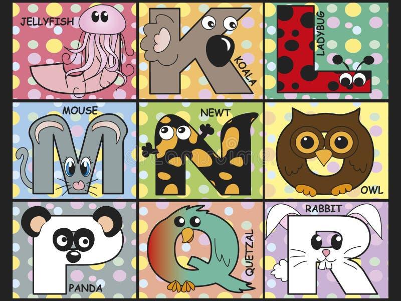 Djurt alfabet stock illustrationer