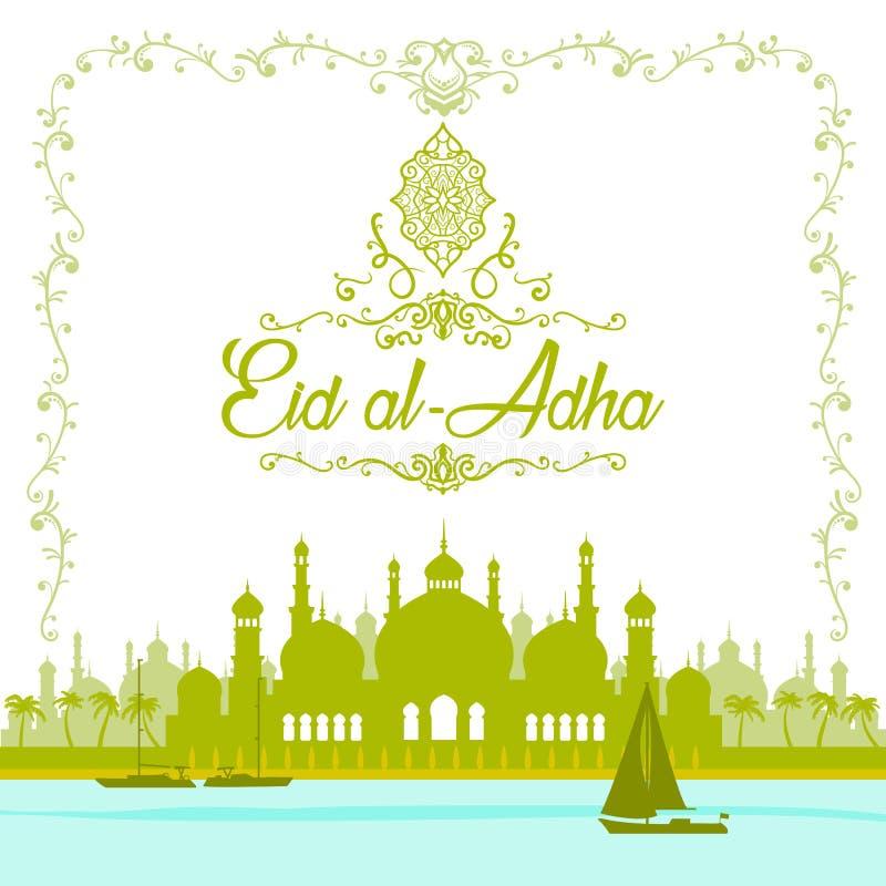 Illustrationen av det Eid mubark och hjälpmedlet sade härligt islamiskt och a stock illustrationer