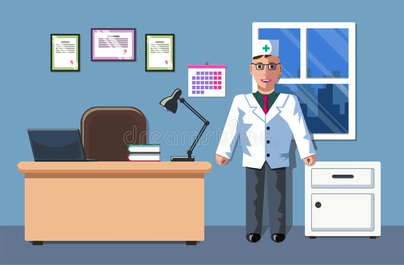 Illustrationen av en doktor som är i hans kontor Kontoret för doktors` s Inredesignen Doktorns tidsbeställning vektor illustrationer