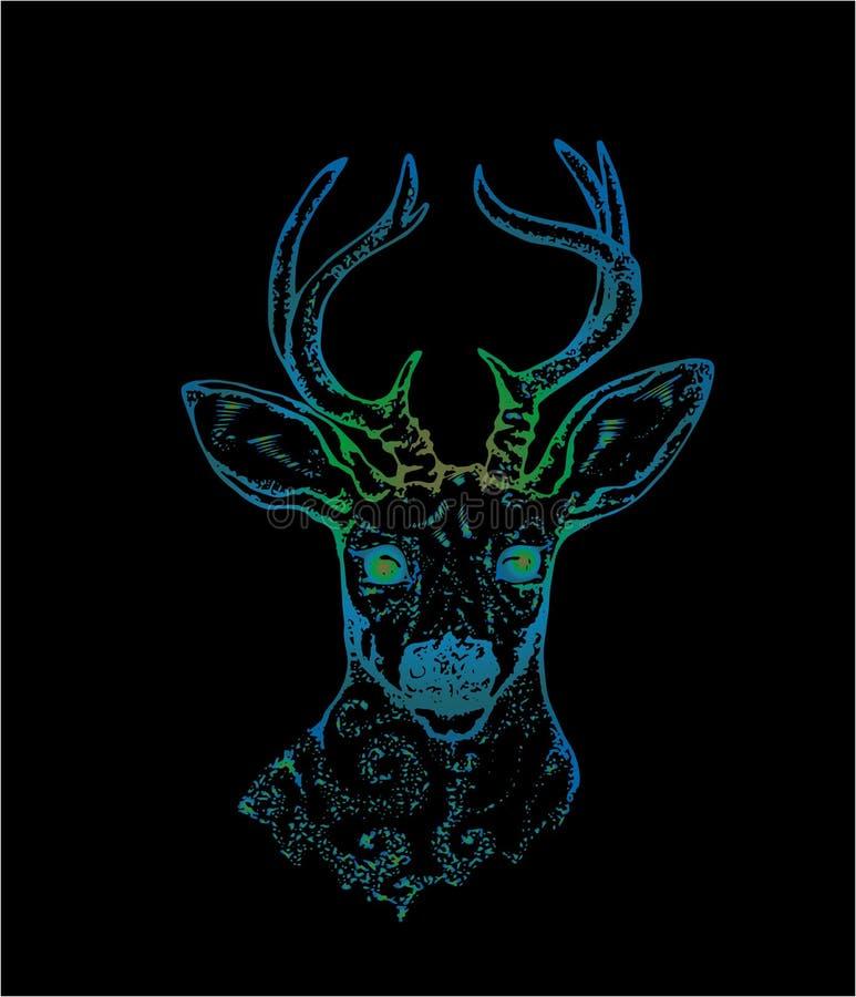 Illustrationen av en hjort med p?f?geln befj?drar i horn F?rgvektor av dekorerade hjortar royaltyfri illustrationer