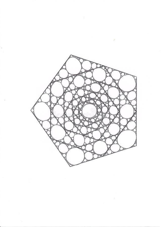 Illustrationen av en pentagon som gjordes av mindre pentagons, fyllde med ellipser och cirklar arkivbild