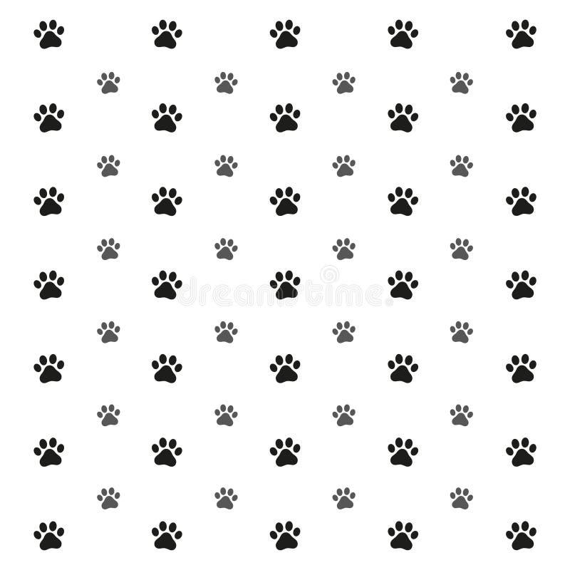 Illustrationen av en sömlös modell med tafsar fotspår av en hundvarg, fläckar och sudd på en vit bakgrund vektor illustrationer