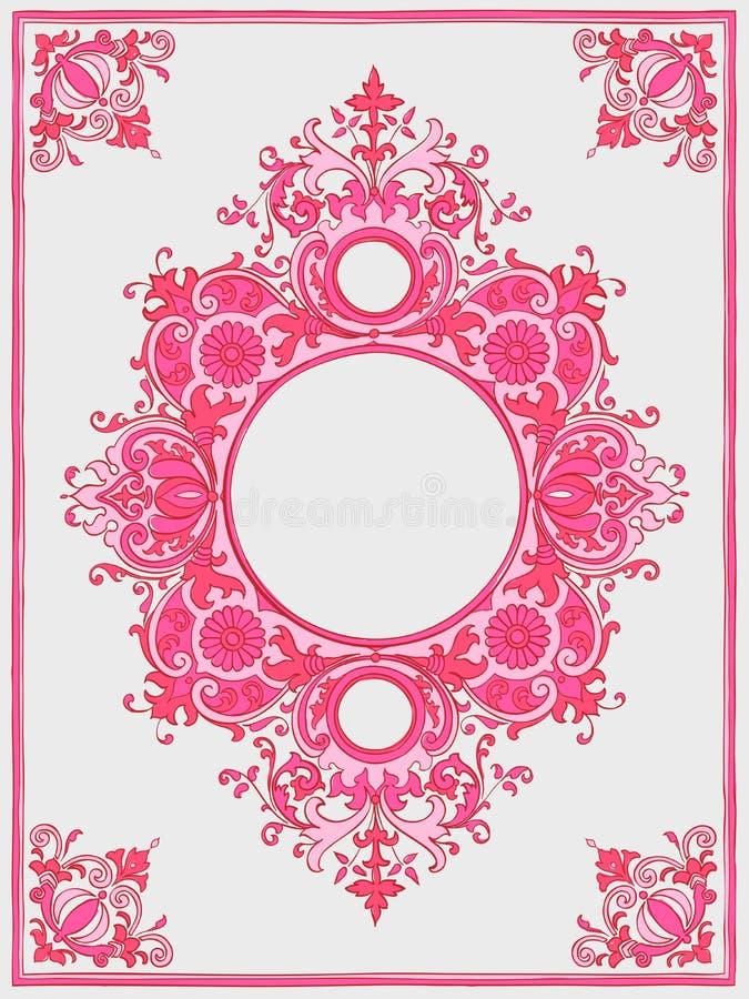 Illustrationen av en tappningram i rosa färger färgar vektor illustrationer