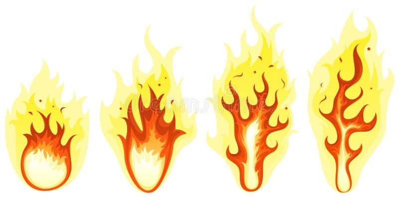Tecknad film avfyrar, och bränningen flammar uppsättningen royaltyfri illustrationer