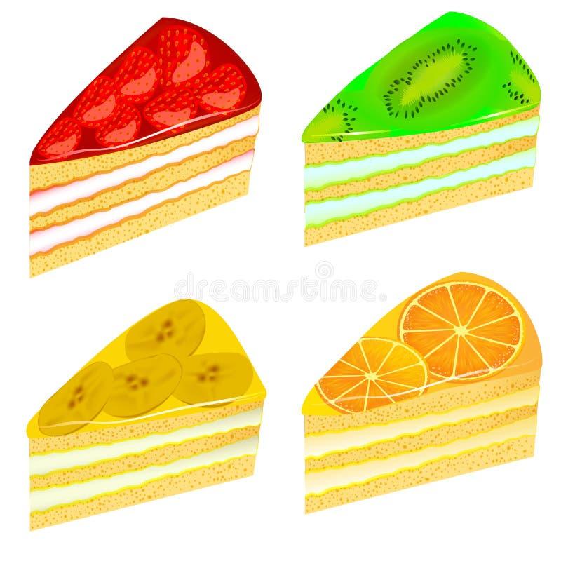 Uppsättningen av lappar av tårtan med den kiwijordgubbebananen och apelsinen vektor illustrationer