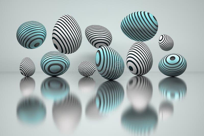 Illustrationen av en uppsättning av easter ägg med rundaspår i blått färgar över den reflekterande yttersidan vektor illustrationer