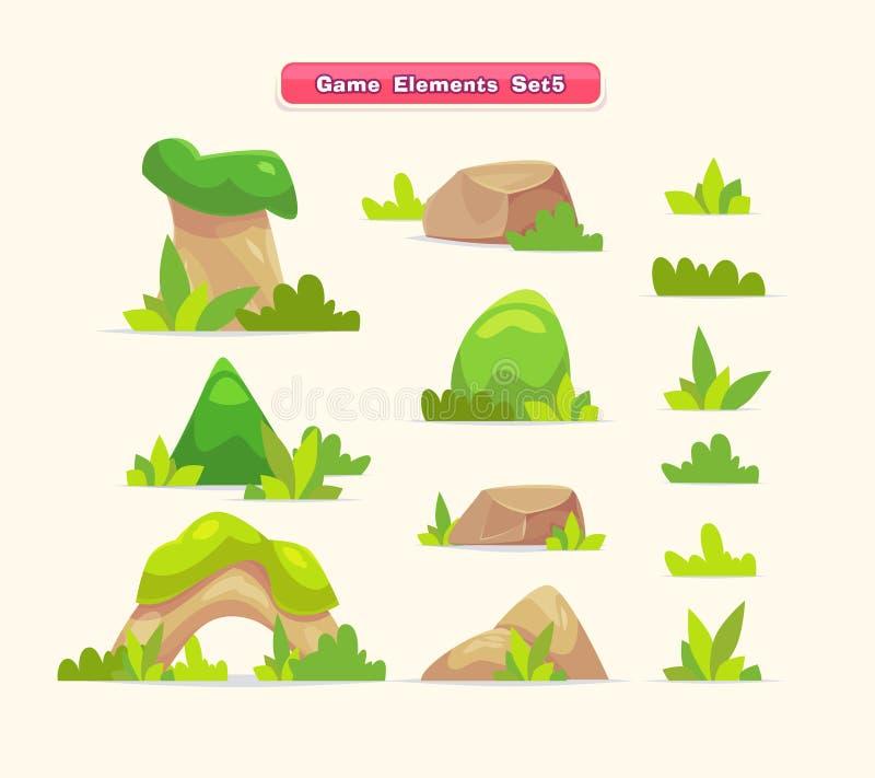 Illustrationen av en uppsättningtecknad filmvår eller små träd för sommar med gräs för ui spelar stock illustrationer