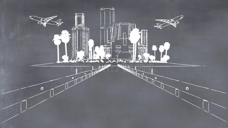 illustrationen av en väg, en stad och nivåer målade på en svart tavla vektor illustrationer
