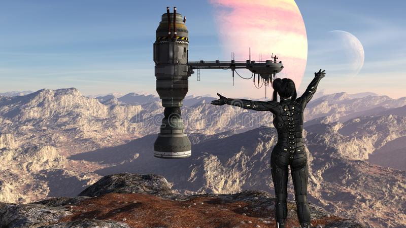 Illustrationen av ett futuristiskt anseende för kvinnlig soldat på en bergstopp med armar fördelade in mot ett rymdskepp med ett  vektor illustrationer