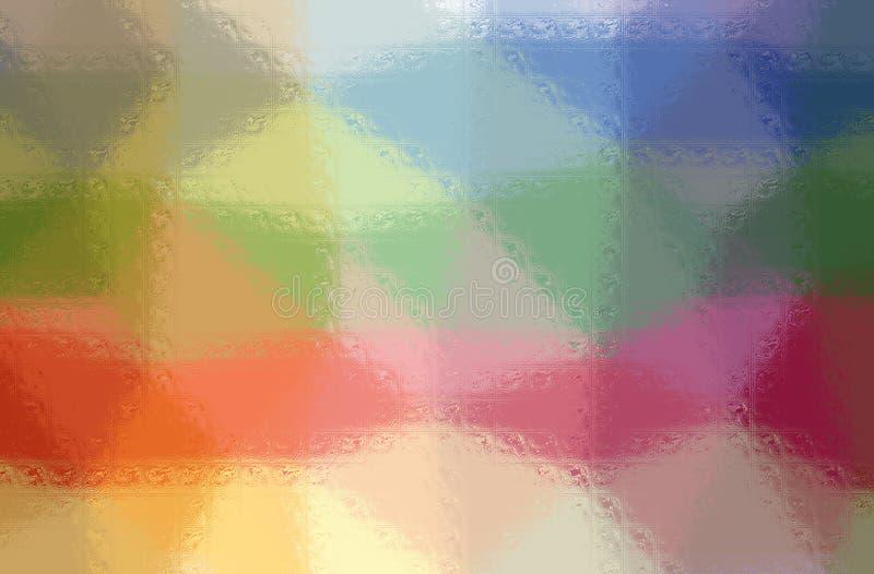 Illustrationen av för blått, gula och röda Glass kvarter för gräsplan, målar bakgrund som frambrings digitalt vektor illustrationer