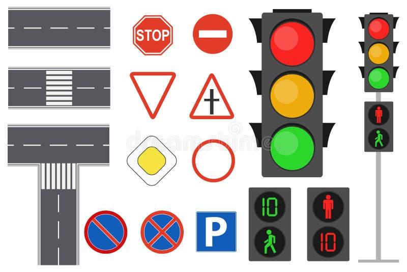 Illustrationen av för trafiktecken för information grafiska symboler ställde in begrepp Realistiska trafiktecken och ljus Plan vä royaltyfri illustrationer