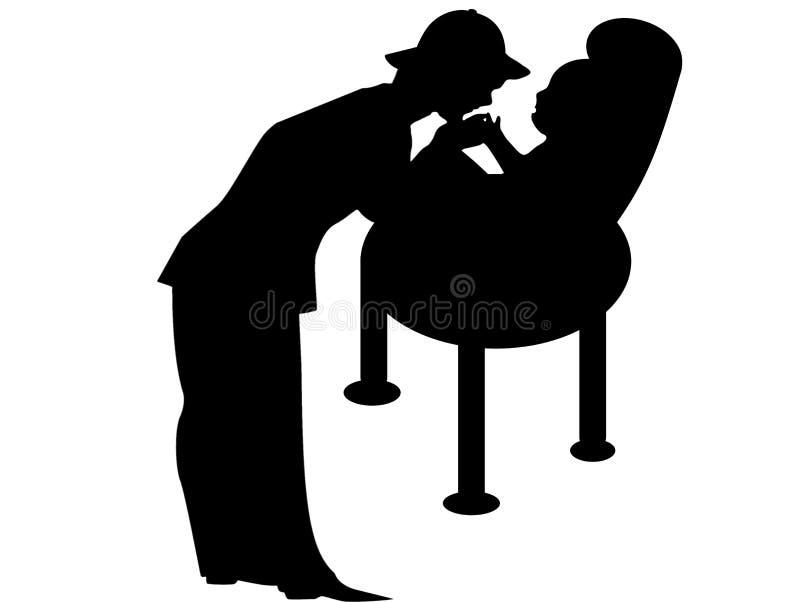 Illustrationen av fadern och nyfött behandla som ett barn logo på vit bakgrund arkivbild