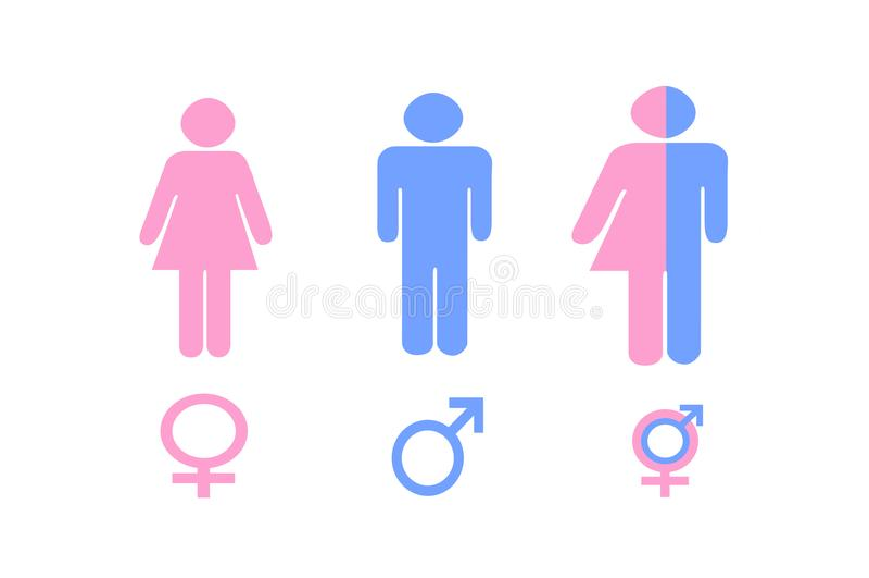 Illustrationen av genuset undertecknar in rosa färger och blått vektor illustrationer