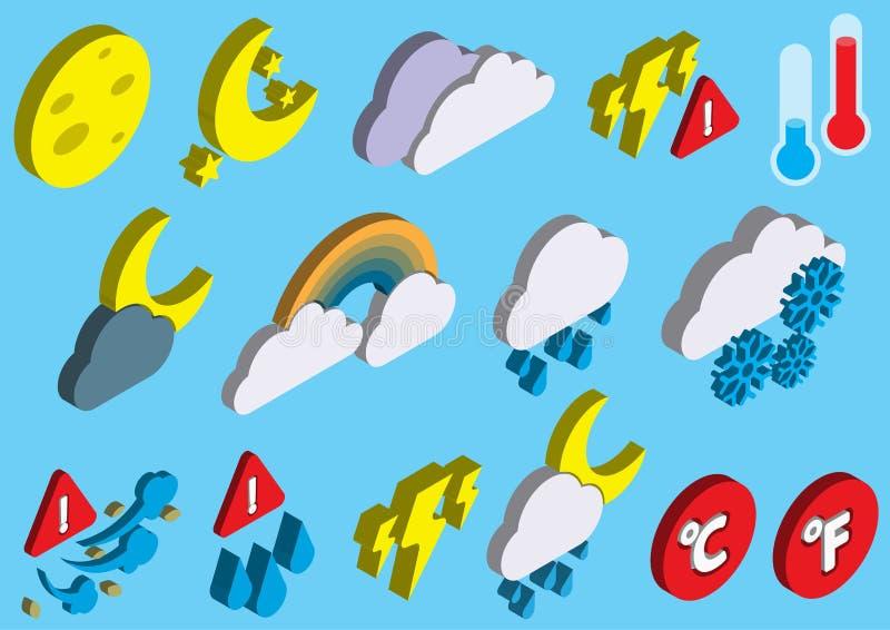 Illustrationen av grafiska vädersymboler för information ställde in begrepp vektor illustrationer