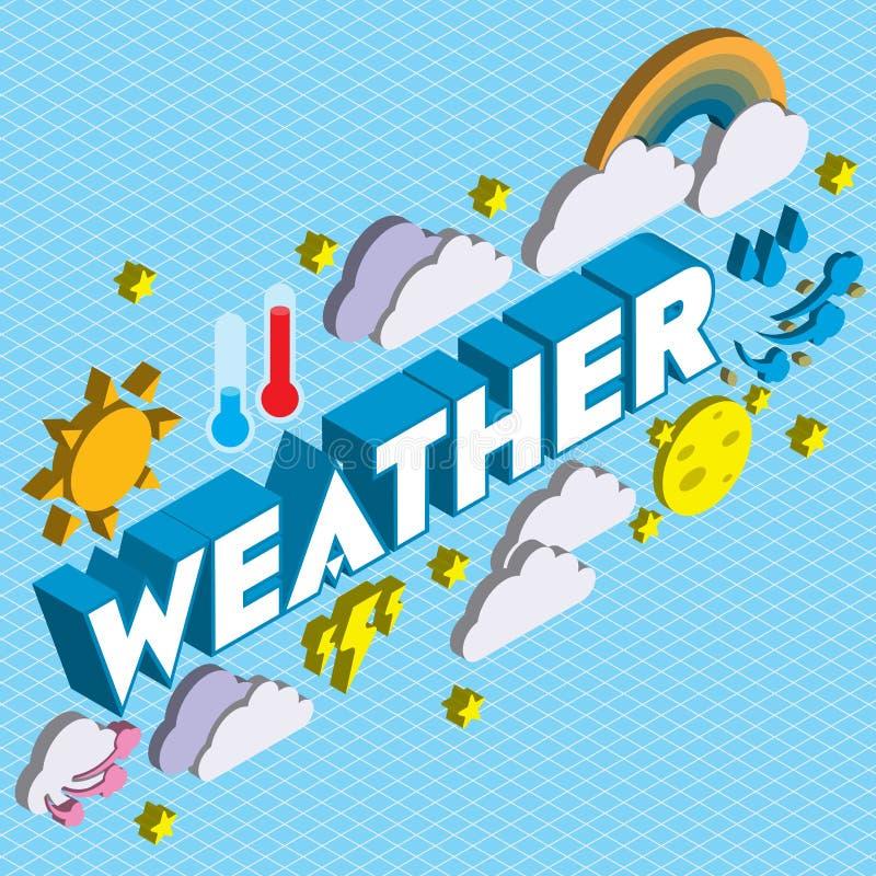 Illustrationen av grafiska vädersymboler för information ställde in begrepp royaltyfri illustrationer
