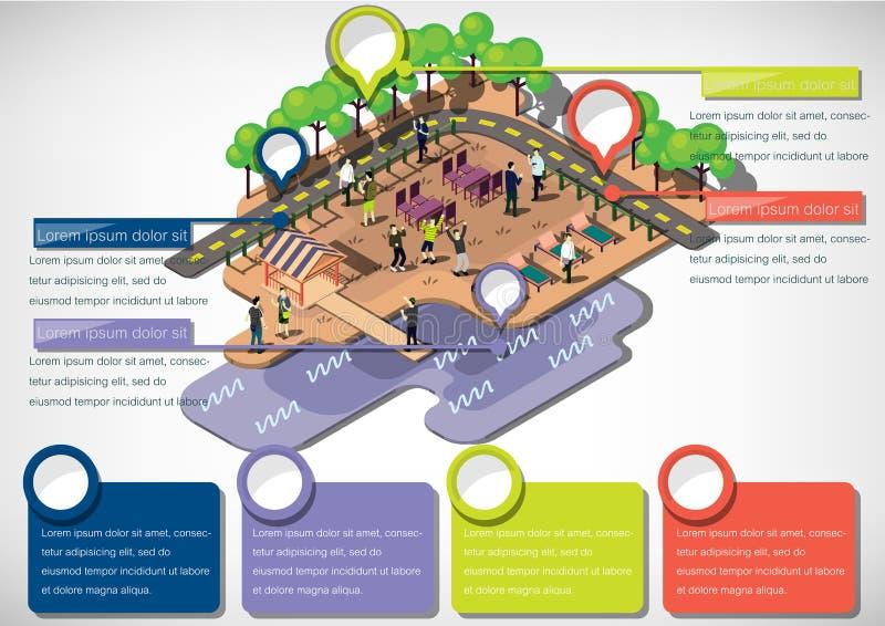 Illustrationen av grafiskt stads- för information parkerar begrepp royaltyfri illustrationer