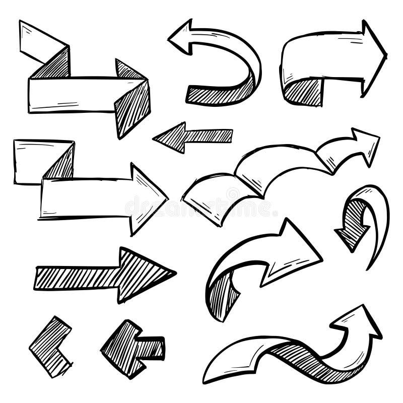 Illustrationen av Grunge skissar den handgjorda uppsättningen för pilen för vattenfärgklottervektorn vektor illustrationer