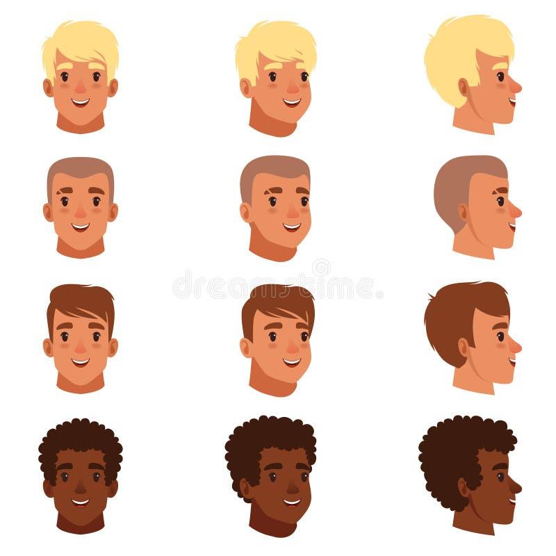 Illustrationen av head avatars för män ställde in med olika frisyrer vektor illustrationer