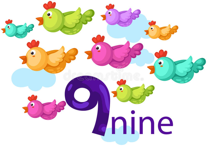 Numrera tecken 9 med fåglar royaltyfri illustrationer
