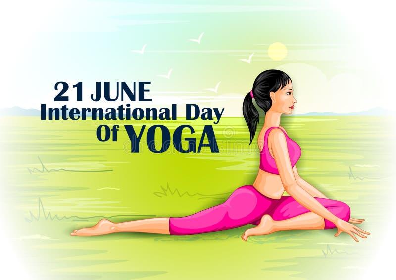 Illustrationen av kvinnan som gör yoga, poserar på affischdesignen för att fira internationell yogadag stock illustrationer