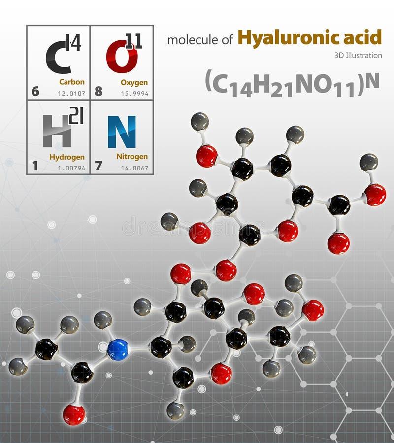 Illustrationen av molekylen för Hyaluronic syra isolerade grå backgroun vektor illustrationer