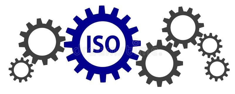 Illustrationen av några kugghjul med ISO intygade royaltyfri illustrationer
