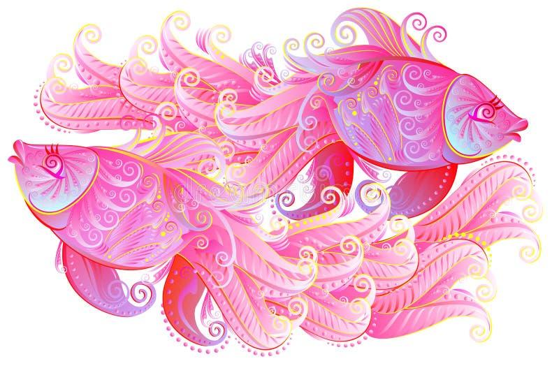 Illustrationen av par av härliga rosa färger fiskar att spela vektor illustrationer