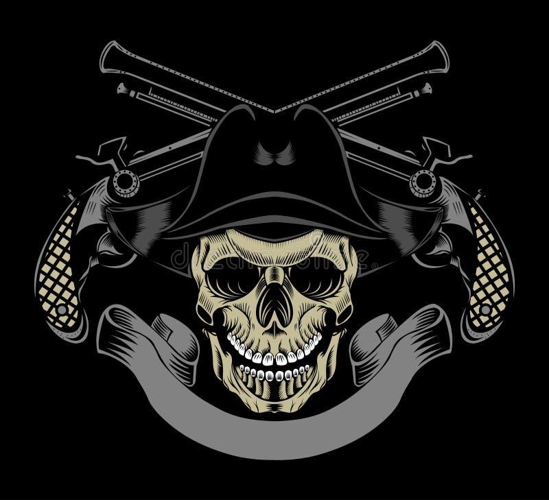 Illustrationen av piratkopierar skallen vektor illustrationer
