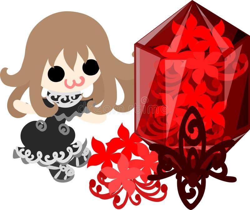 Illustrationen av spindelliljaflickan royaltyfri illustrationer