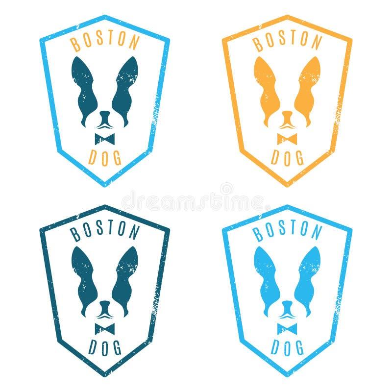 Illustrationen av uppsättningen märker den boston terriern Emblem för bet stock illustrationer