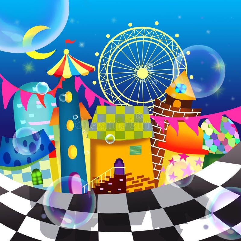 Illustrationen av världen av barns fantasi: Magisk lekplats stock illustrationer