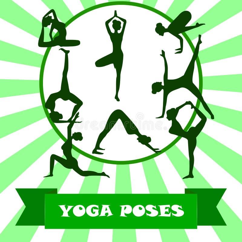 Illustrationen av yoga poserar konturn Yoga göra sig till konturn royaltyfri illustrationer