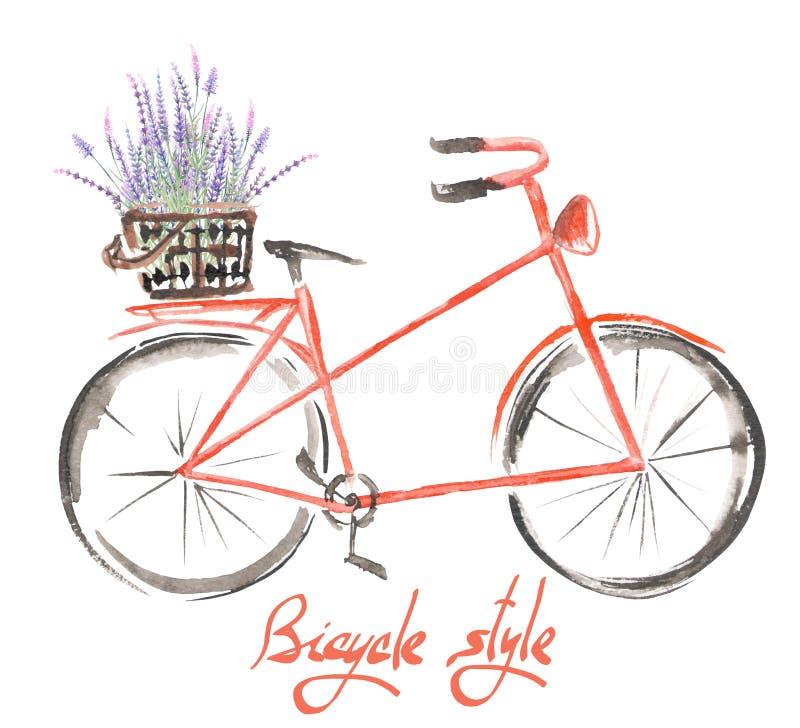 Illustrationen (bild) av den röda cykeln för vattenfärgen med korgen av lavendel blommar vektor illustrationer