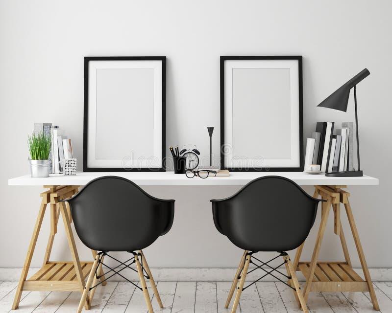 illustrationen 3D av affischen inramar upp mallen, workspaceåtlöje,