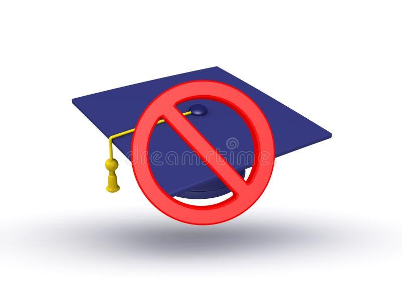 illustrationen 3D av avläggande av examenlocket med förbjudet undertecknar över det vektor illustrationer