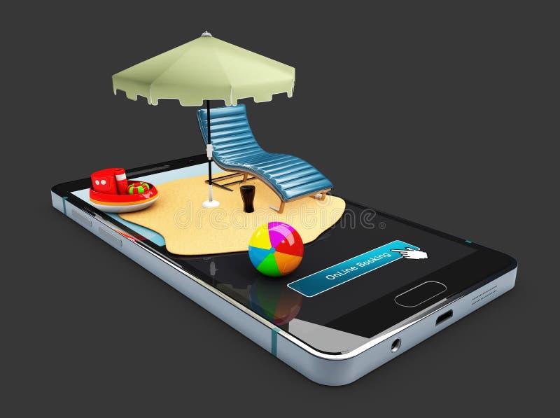 illustrationen 3d av den mobila app-modellen för online-bokningen ställer ut, solparaplyet, stol och leksaker på den smarta telef arkivbilder