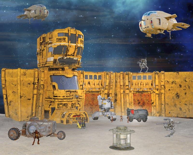 illustrationen 3D av det futuristiska dystopian arbetslägret manned av robotic cyber surrar vektor illustrationer