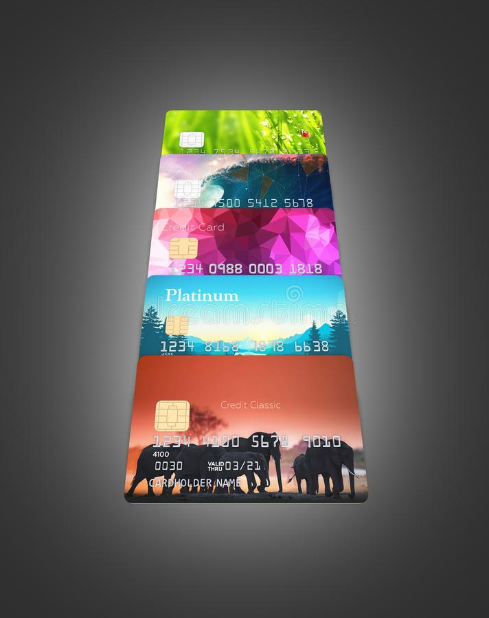 illustrationen 3d av detaljerade glansiga kreditkortar st?llde upp isolerat p? svart lutningbakgrund vektor illustrationer