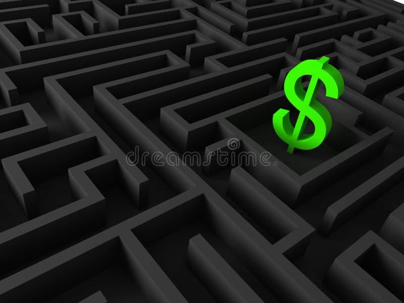 illustrationen 3d av dollaren undertecknar in labyrint royaltyfria foton