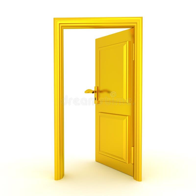illustrationen 3D av en halva öppnade den guld- dörren royaltyfri illustrationer