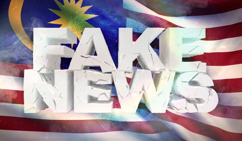 illustrationen 3D av fejkar nyheternabegrepp med bakgrundsflaggan av Malaysia royaltyfri illustrationer