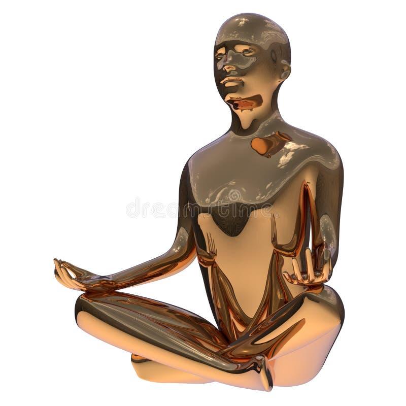 illustrationen 3d av guld- manlotusblomma poserar det guld- stiliserade yogadiagramet vektor illustrationer