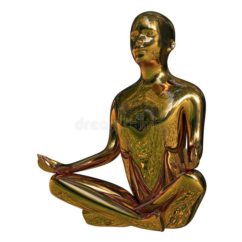 illustrationen 3d av guld- yogalotusblomma poserar mannen det polerade stiliserade diagramet vektor illustrationer