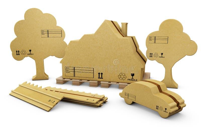 illustrationen 3d av huset, staketet, bilen och trädet i brun papp, isolerade vit vektor illustrationer