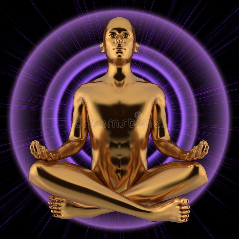 illustrationen 3d av mannen som diagramet lotusblomma poserar, stiliserade guld- på purpurfärgad exponering royaltyfri illustrationer